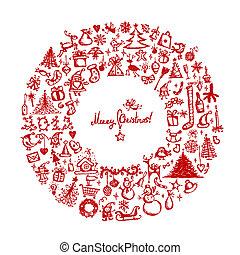 Weihnachtskranz, Zeichnung für dein Design.