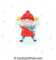 Weihnachtsmädchen macht Engel im Schnee