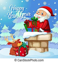 Weihnachtsmann mit Geschenk auf Weihnachten Vorlage.