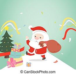Weihnachtsmann mit Geschenkdose.
