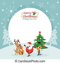 Weihnachtsmann, Schneemann, Rentiere, Musikrahmen.