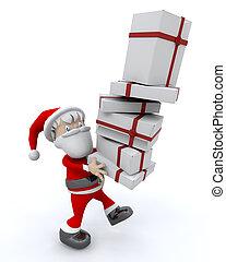 Weihnachtsmann und Geschenke.