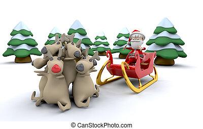 Weihnachtsmann und Geschenke
