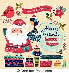 Weihnachtsmann, Vögel und Geschenke.