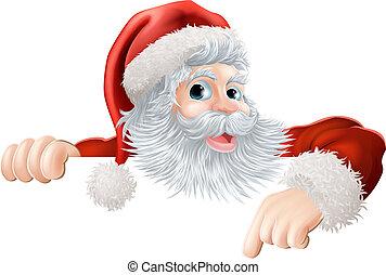 Weihnachtsmann zeigt auf Si