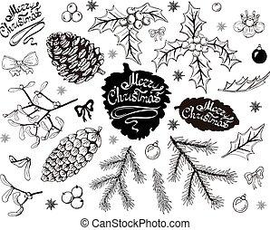Weihnachtsobjekte, isoliert auf weißem Hintergrund.