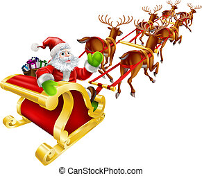 Weihnachtssanta Claus fliegt im Schlitten