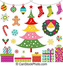 Weihnachtsschmuck, Geschenk und Baum
