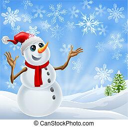 Weihnachtsschneemann-Winterlandschaft