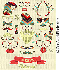 Weihnachtssilhouette auf Stricktextur