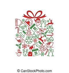 Weihnachtssymbole in Form eines Geschenks.