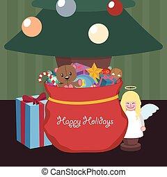 Weihnachtsszene mit Geschenkbeutel unter dem Baum.