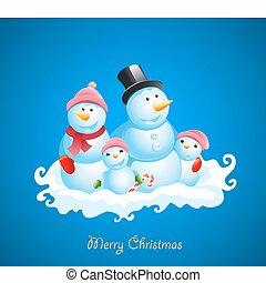 Weihnachtsvektor-Hintergrund. Fröhlichen Schneemann