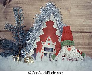 Weihnachtsvereinbarung mit Spielzeug Weihnachtsmann und Geschenke.
