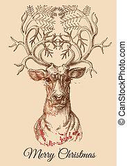 Weihnachtswild-Sketch-Vektorgrafik.