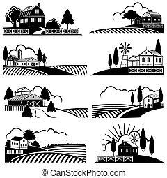 Weinbaulandschaft mit landwirtschaftlicher Landschaft. Vektor-Hintergründe im Holzschnitt
