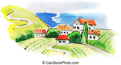 weinberg, landschaftsbild, aquarell, gemalt