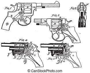 weinlese, fohlen, revolver, zeichnung