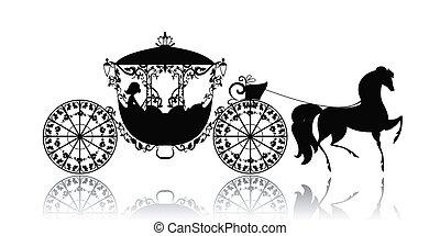 weinlese, pferd, silhouette, wagen