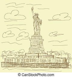 weinlese, statue, freiheit