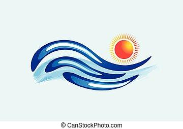 Wellen-Sonnen-Logo-Vektor.