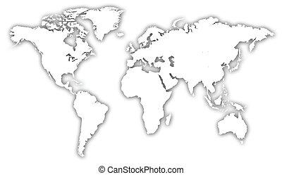 welt, abbildung, landkarte