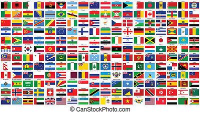 welt, alphabetisch, flaggen