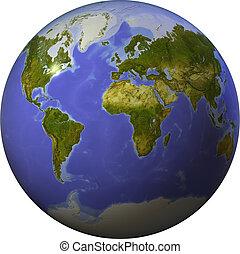 Welt auf der einen Seite einer Kugel
