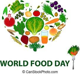 Welt-Essen-Tag. 16. Oktober. Herz aus Obst, Gemüse, Getreide. Vector Illustration auf isoliertem Hintergrund.