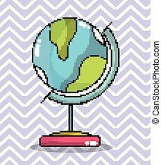 welt globus, kunst, pixel