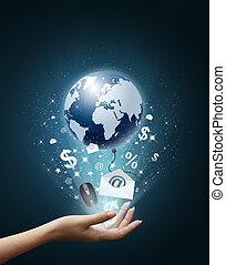 Welt und Technologie in meiner Hand