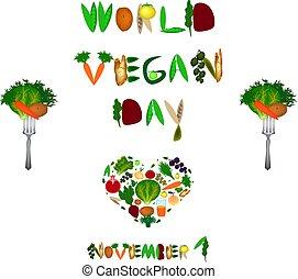 Welt Veganertag. Herz aus Gemüse und Früchten. Inschrift aus Obst und Gemüse. Vector Illustration auf isoliertem Hintergrund.