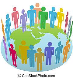 Weltbevölkerungsgruppe trifft sich auf der Erde Osten