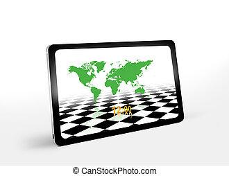 welten, landkarte, tablette pc