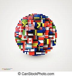 Weltflaggen in Form von Sphären.