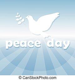 Weltfriedenstagsposter weißes Taubenvogelsymbol.