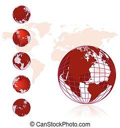 Weltkarte, 3D- Globus-Serie