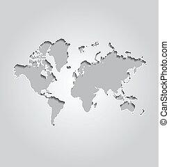 Weltkarte auf grauem Hintergrund.