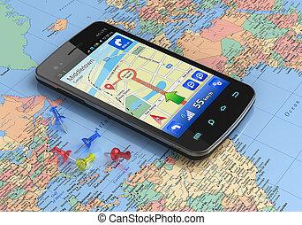 weltkarte, gps, smartphone, schifffahrt