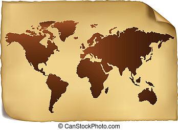 Weltkarte im klassischen Muster.