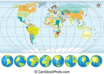 Weltkarte mit Globus.