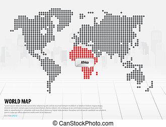 Weltkarte mit Kontinenten (Afrika)