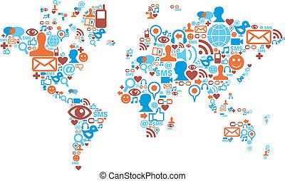 Weltkarte mit sozialen Medien-Ikonen
