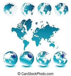 Weltkarte und Globen