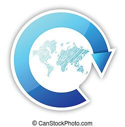 Weltkarte und Pfeile