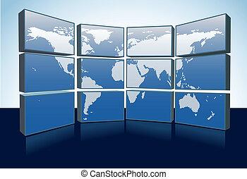 Weltkartenmonitore zeigen die Erde auf den Bildschirmen