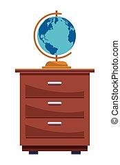 Weltkugel der Erde auf Kabinett-Cartoon.