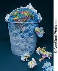 Weltkugel, Müll, Konzept