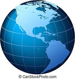 Weltkugel - Sicht der USA - Vektor