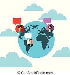 Weltkugeln reden über soziale Medien.